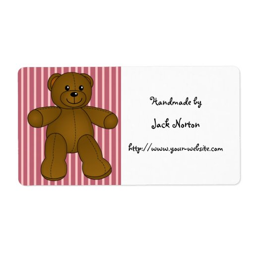 Handmade by - Cute brown teddy bear Shipping Labels