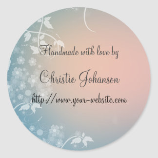 Handmade by - floral design stickers