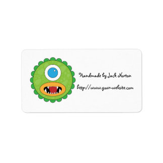 Handmade by - Green funny monster Label