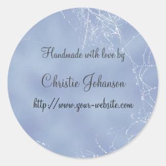 Handmade by - spiderweb design classic round sticker