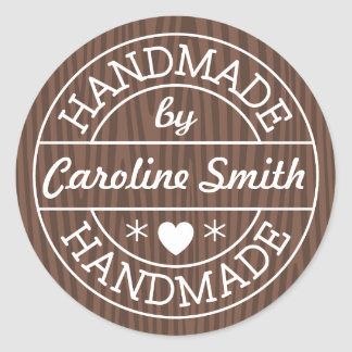Handmade by stamp on dark wood personalized name classic round sticker