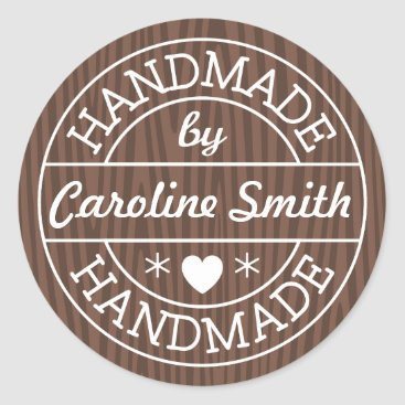 Professional Business Handmade by stamp on dark wood personalized name classic round sticker