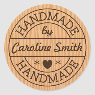 Handmade by stamp on wood personalized name classic round sticker