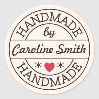 Handmade by stamp red heart personalized name classic round sticker
