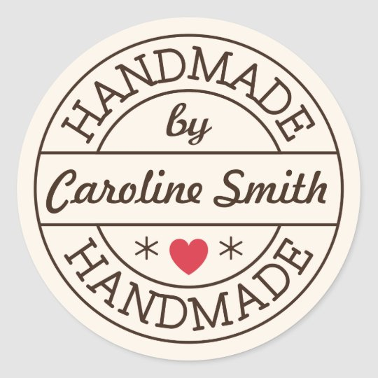 Handmade By Stamp Red Heart Personalized Name Classic
