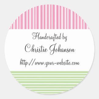 Handmade by - stripes design round sticker
