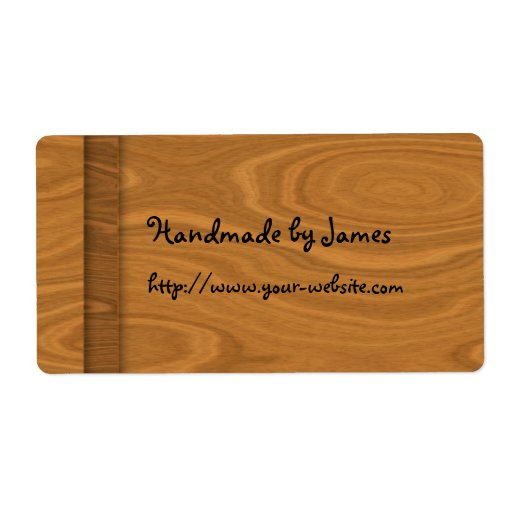 Handmade by - wood design shipping label
