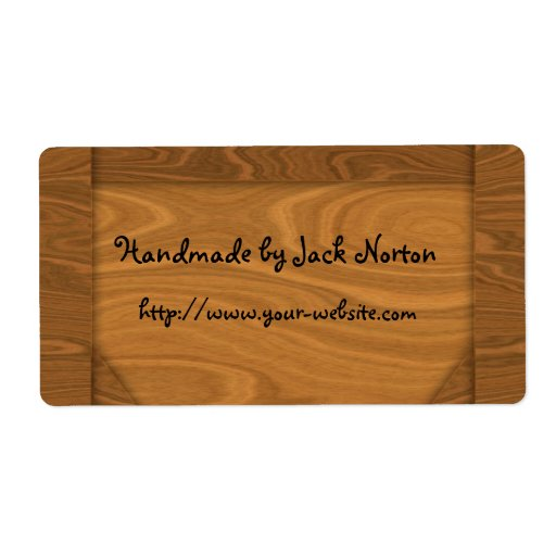 Handmade by - wood design personalized shipping label