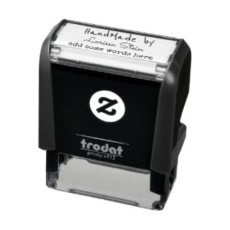 handmade by (your name) + text self-inking stamp