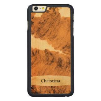 Handmade Custom Texas Long Horn Cowhide Print Carved Maple iPhone 6 Plus Case