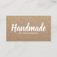 Handmade Gift Gold Confetti Rustic Kraft Business Card