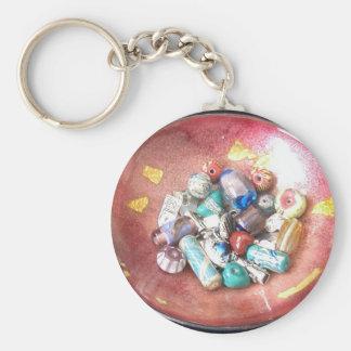 Handmade Glass Beads Basic Round Button Keychain