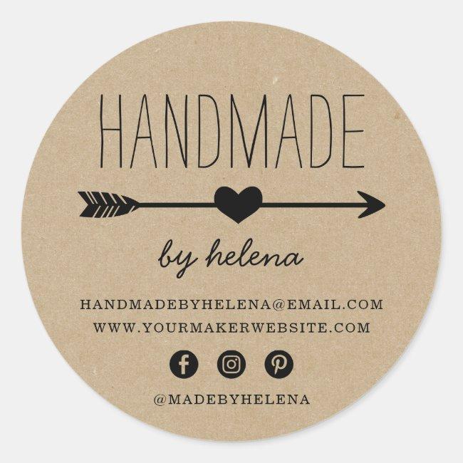 Handmade Heart | Rustic Kraft Look Classic Round Sticker