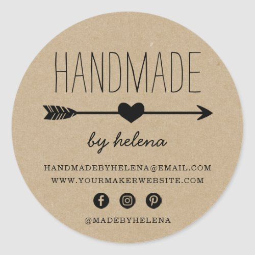 Handmade Heart  Rustic Kraft Look Classic Round Sticker