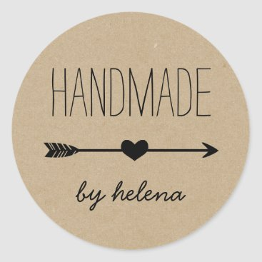Professional Business Handmade Heart | Rustic Kraft Look Classic Round Sticker