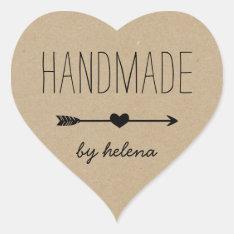 Handmade Heart | Rustic Kraft Look Heart Sticker at Zazzle