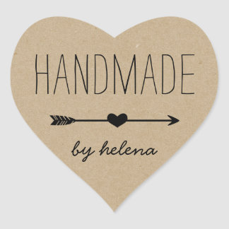 Handmade Heart | Rustic Kraft Look Heart Sticker