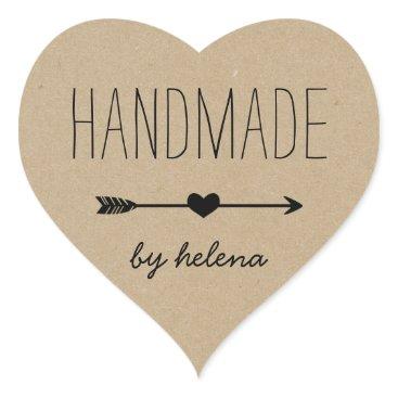 Valentines Themed Handmade Heart | Rustic Kraft Look Heart Sticker
