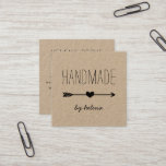 """Handmade Heart   Rustic Kraft Square Business Card<br><div class=""""desc"""">Rustic brown kraft business cards for your handmade, artisan, or craft business feature two lines of custom text on the front in handwritten style block and script lettering, bisected by a black heart and arrow illustration. Add five lines of custom text to the reverse side in matching fonts. Includes three...</div>"""