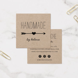 Handmade Heart | Rustic Kraft Square Business Card