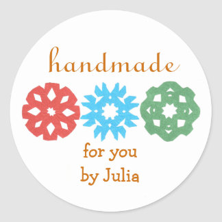 """Handmade"" holiday gift label Classic Round Sticker"