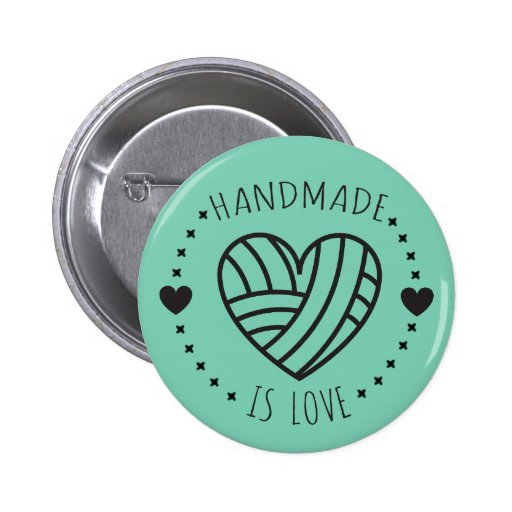 Handmade is Love Yarn Heart Pinback Button