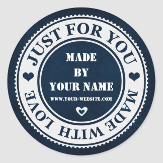 Handmade Just For You Made With Love Blue White Classic Round Sticker