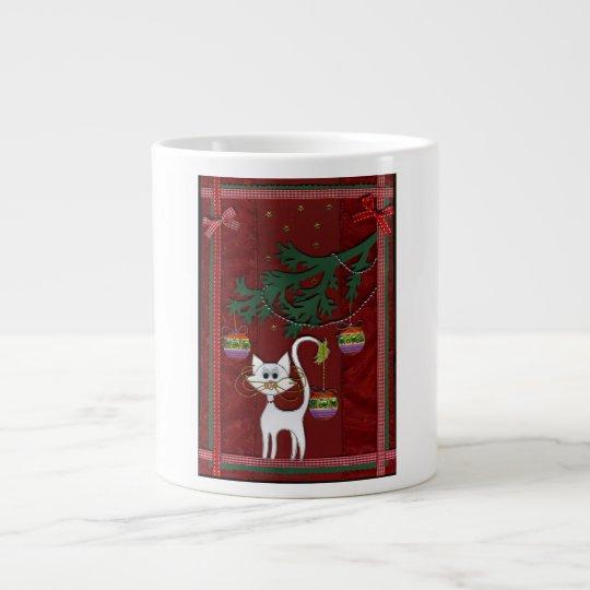Handmade Kitty Jingle Christmas Card Giant Coffee Mug