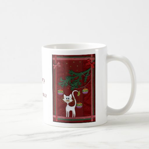 Handmade Kitty Jingle Merry Christmas Classic White Coffee Mug