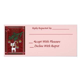 Handmade Kitty Jingle Merry Christmas 4x9.25 Paper Invitation Card
