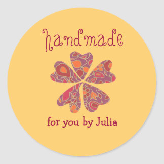 """Handmade"" label Classic Round Sticker"