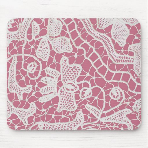 Handmade Lace on Pink Background Mousepad
