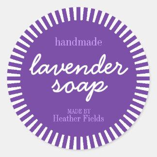 Handmade Lavender Soap Round Label Template Classic Round Sticker