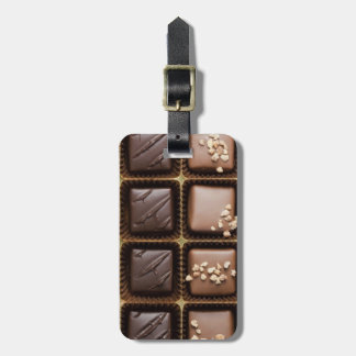 Handmade luxury chocolate in a box tag for luggage