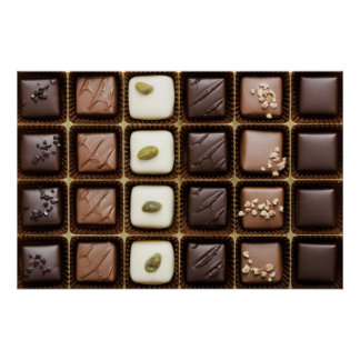 Handmade luxury chocolate in a box poster