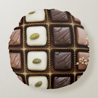 Handmade luxury chocolate in a box round pillow