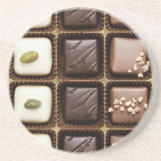 Handmade luxury chocolate in a box sandstone coaster