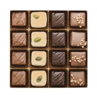 Handmade luxury chocolate in a box wood coaster