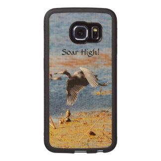 Handmade Motivational Soar High Heron Custom Wood Wood Phone Case