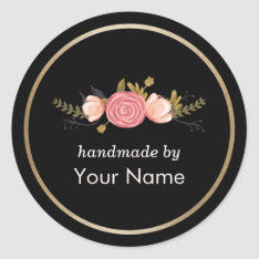 Handmade Product Vintage Floral Deco Business Classic Round Sticker at Zazzle