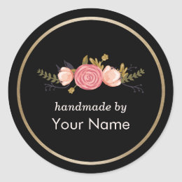 Handmade Product Vintage Floral Deco Business Classic Round Sticker