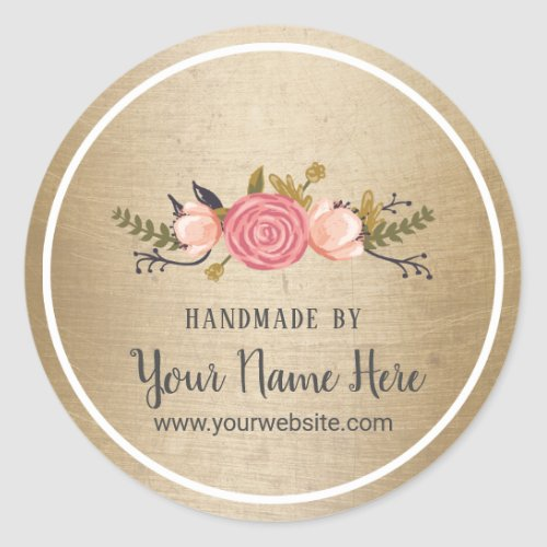 Handmade Product Vintage Floral Gold Business Classic Round Sticker