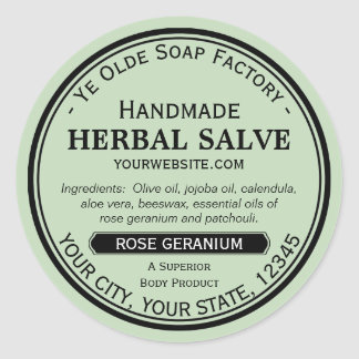 Handmade Round Salve Lotion Labels Old Fashioned Classic Round Sticker