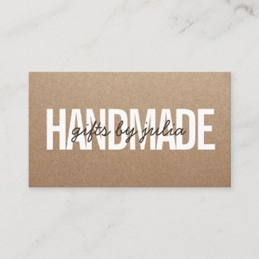 Handmade rustic brown kraft vintage brown script business card
