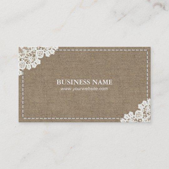 Handmade sewing diy craft rustic lace burlap business card handmade sewing diy craft rustic lace burlap business card reheart Image collections