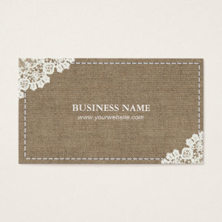 Handmade Sewing DIY Craft Rustic Lace & Burlap Business Card
