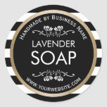 Handmade Soap Gold Border Modern Stripes Classic Round Sticker