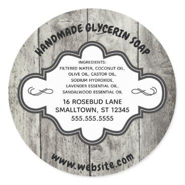 Professional Business Handmade Soap Label Rustic Grey Wood Custom