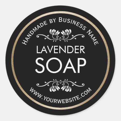 Handmade Soap Making Vintage Floral Plain Black Classic Round Sticker