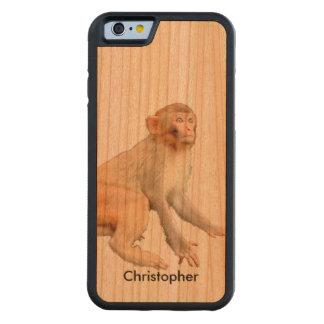 Handmade Soulful Monkey Wildlife Animal Custom Carved Cherry iPhone 6 Bumper Case